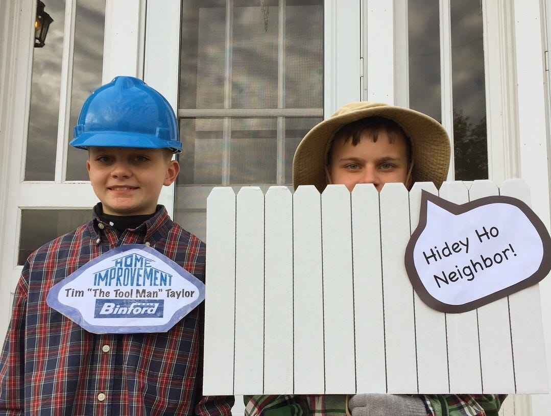 "Henry & Oliver dressed as Tim and Wilson from ""Home Improvement"" for Halloween."