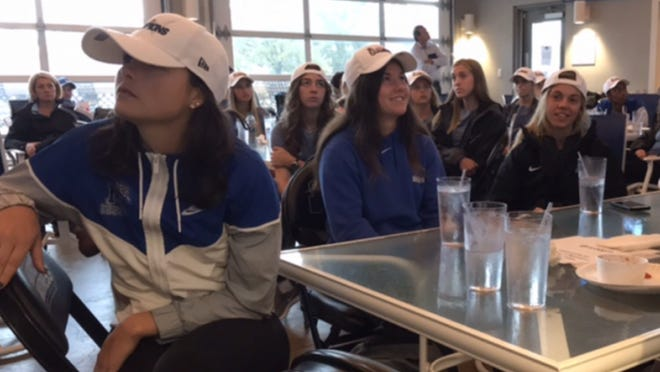 The Memphis women's soccer team found out it will host Wisconsin in the first round of the NCAA tournament during Monday's selection show watch party at Brookhaven Pub & Grill.
