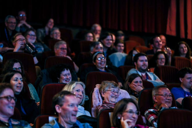 Audience members watch a question-and-answer with the Elliott family after the screening of Clara's Ghost at Studio on the Square during the Indie Memphis Film Festival in 2018.