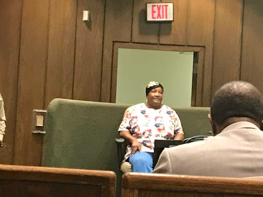 """Sandra Richardson testifies during the sentencing hearing of her """"grandson,"""" Tremaine Wilbourn, on Nov. 5, 2018. Richardson is not related to Wilbourn by blood, but helped raise him and his siblings. Wilbourn was convicted in the 2015 killing of Memphis Police Department officer Sean Bolton."""