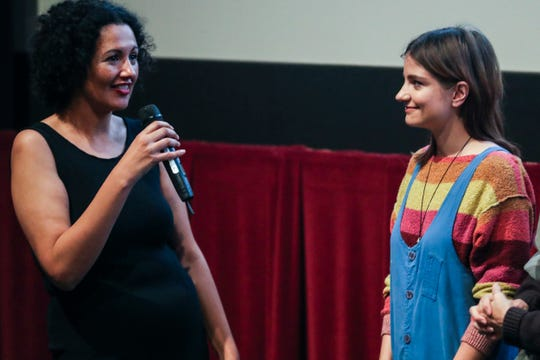 Miriam Bale, senior programmer at Indie Memphis, left, talks with filmmaker Bridey Elliott after the screening of Clara's Ghost at Studio on the Square during the Indie Memphis Film Festival on November 4, 2018. Bale will program the Indie Memphis Cinema.