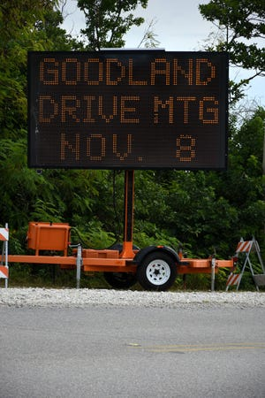 A message board advertises the meeting. Collier County is holding a Goodland Drive Rehabilitation Stakeholders Public Information Meeting from 5 to 7 p.m., Thursday, Nov. 8, in the Goodland Community Center at 417 Mango Avenue,