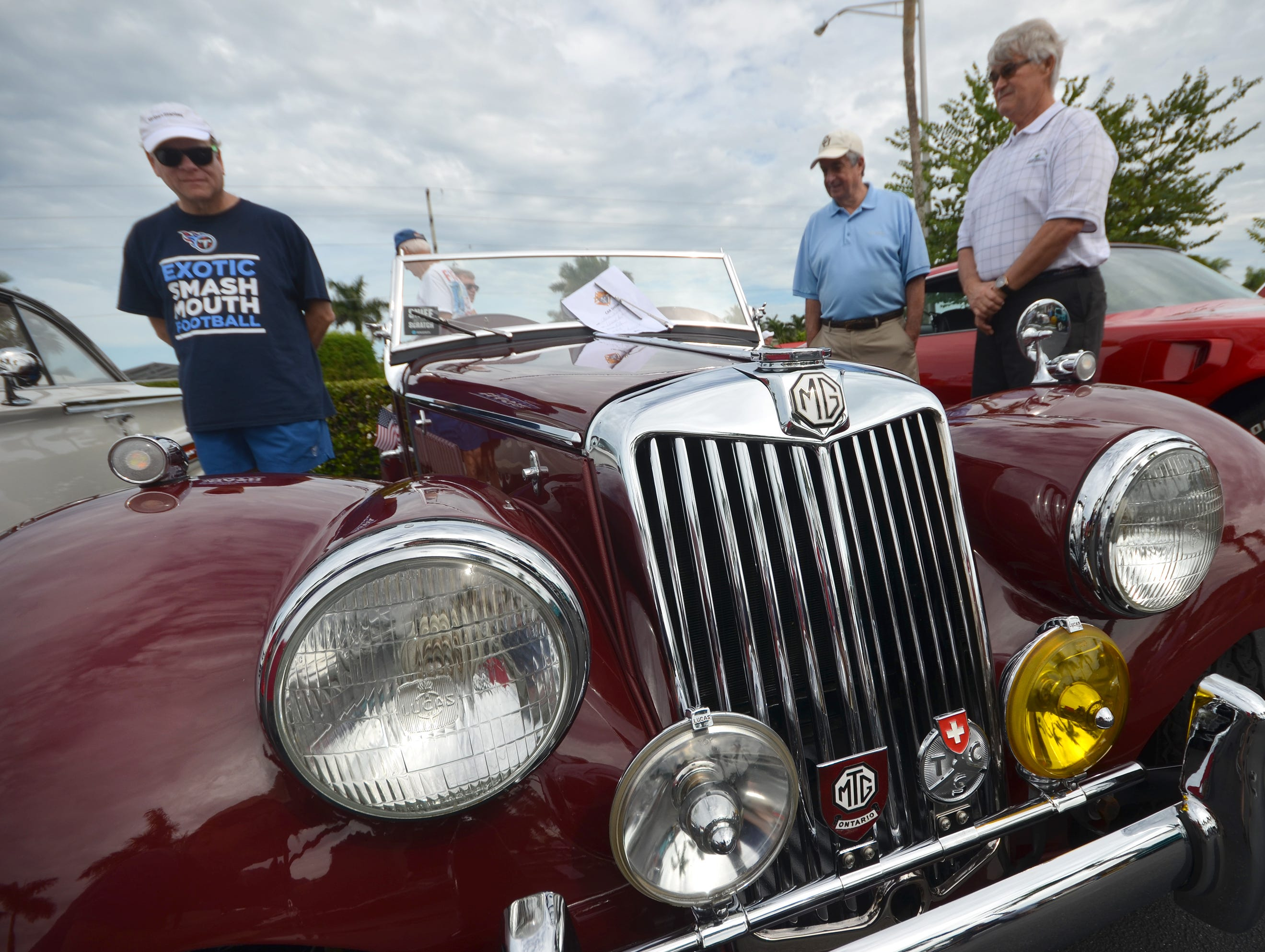 Jack Keery's 1954 MG roadster sports an exotic front end. The Marco Island Knights of Columbus held their inaugural car show Saturday in the parking lot at San Marco Catholic Church.