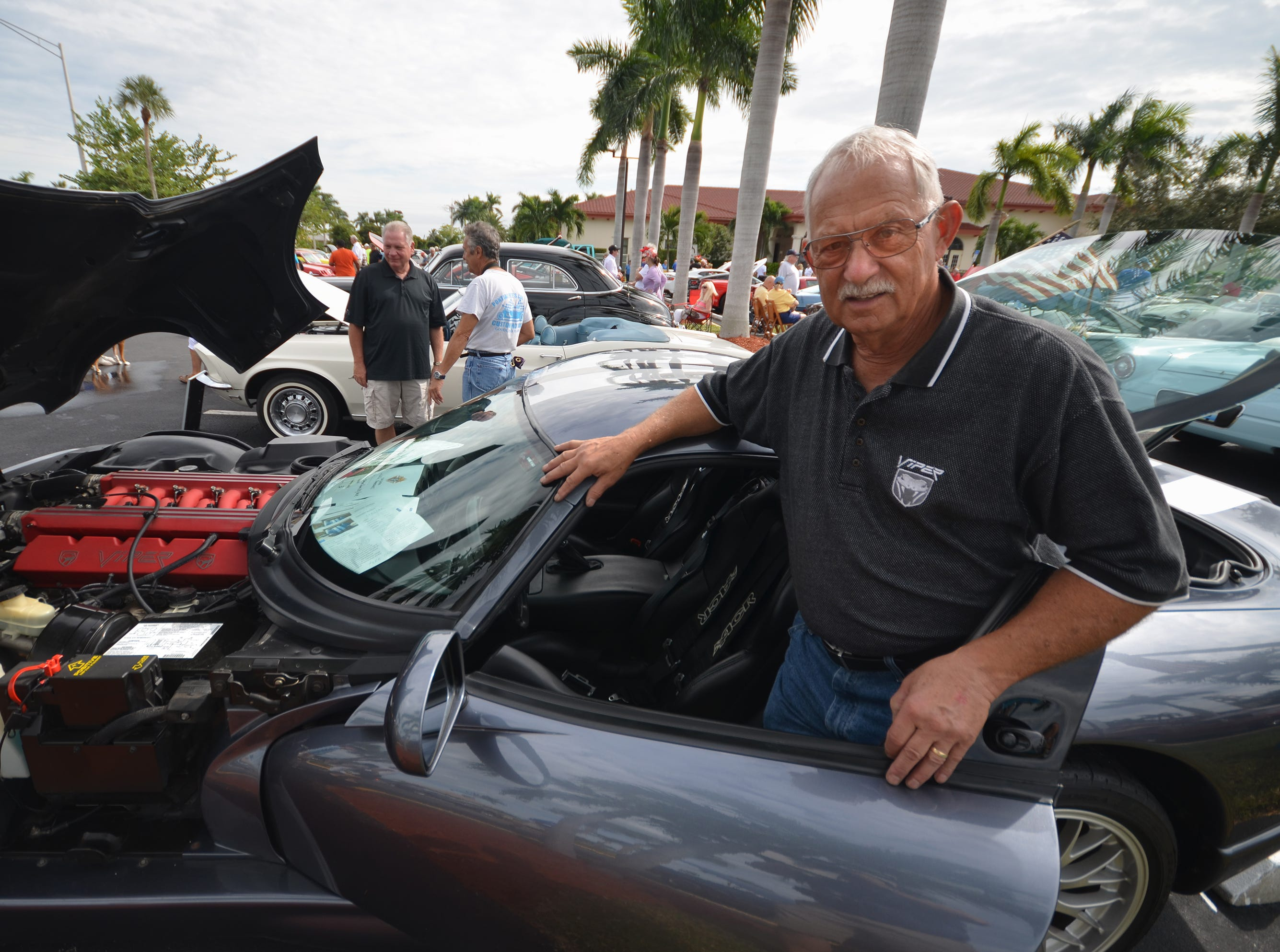 Will Giansanti displays his race track-certified 2000 Dodge Viper GTS/ACR, one of just 20 built. The Marco Island Knights of Columbus held their inaugural car show Saturday in the parking lot at San Marco Catholic Church.