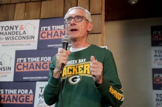Democratic candidate for governor Tony Evers campaigns at the Milwaukee Southside Coordinated Campaign on West Historic Mitchell Street in Milwaukee Sunday.