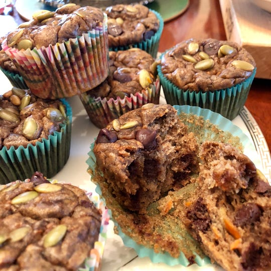Banana, Carrot and Pumpkin Seed Muffins also have chocolate chips, sealing the appeal for kids.