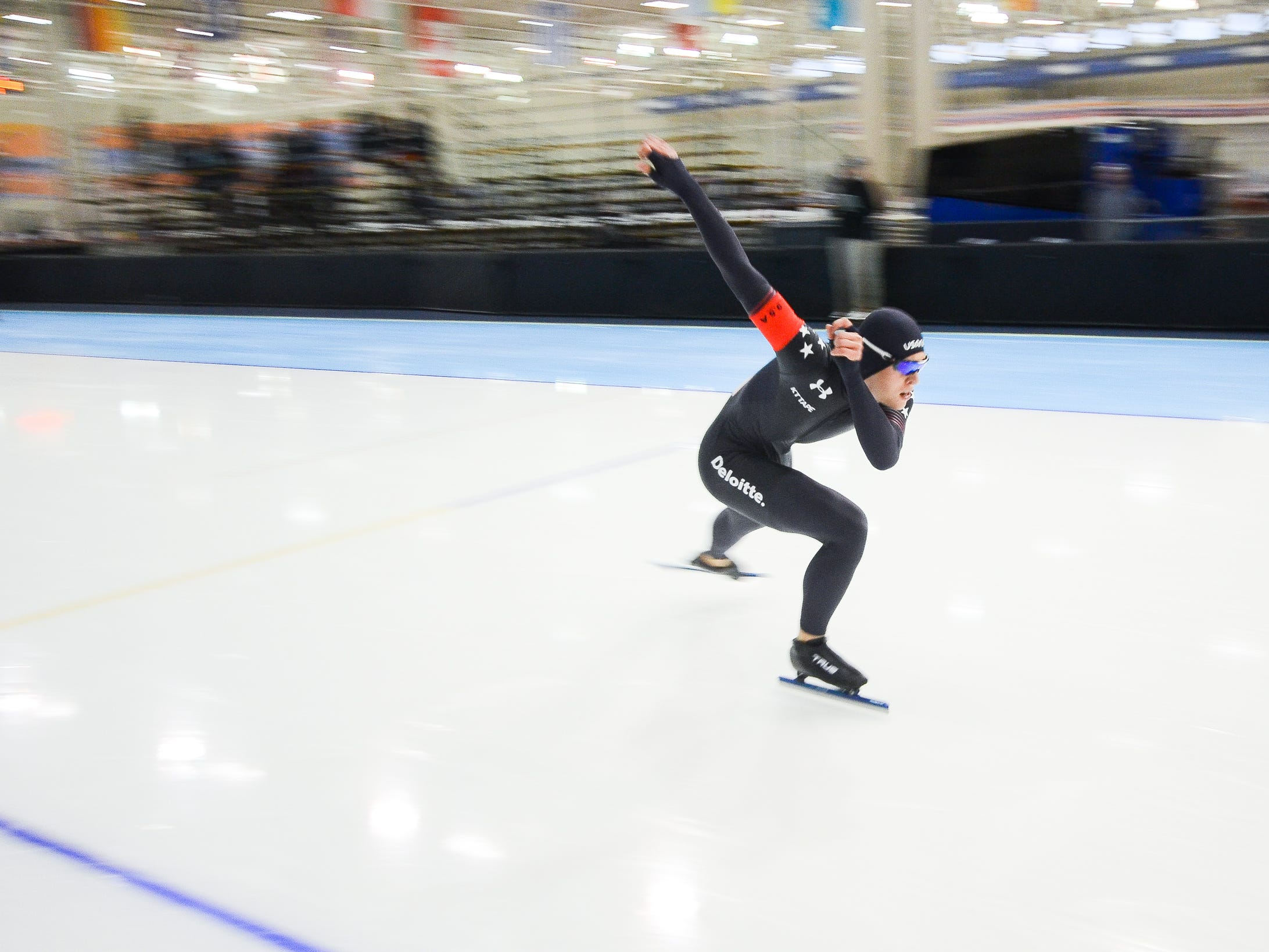 William Gebauer competes in the men's 1,500 meters at the U.S. World Cup qualifying event Sunday, November 4, 2018, at the Pettit National Ice Center. He finished 10th.