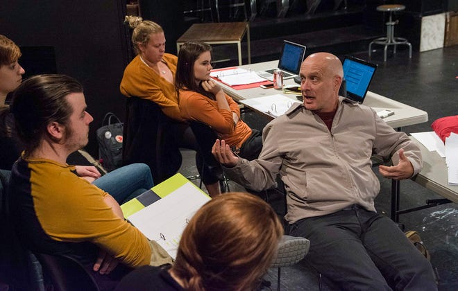 "Playwright Eric Simonson talks with Carthage College students during the rehearsal process for ""Up and Away,"" a play inspired by the opioid addiction crisis."