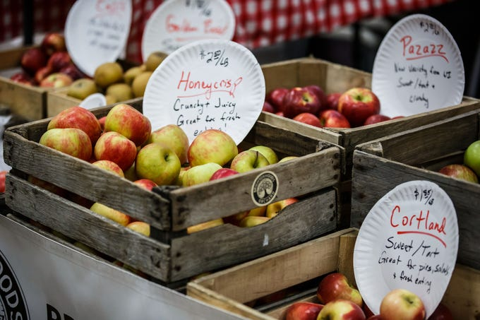 Brightonwood Orchard of Burlington offers a variety of fresh picked apples during the Oconomowoc Winter Farmers Market at the high school on Sunday, Nov. 4, 2018. The winter market is open from 9:30 a.m. to 1:00 p.m. every Sunday through March 31st.