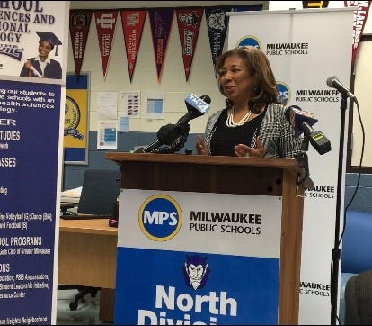Eve Hall, president of the Milwaukee Urban League, discusses its collaboration with Milwaukee Public Schools and United Way of Greater Milwaukee and Waukesha County at a news conference Monday. The three will work together to improve outcomes for students at the struggling MPS school