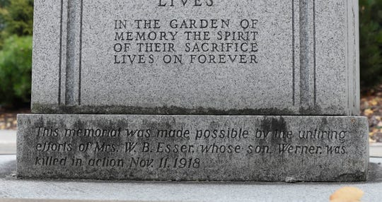 Near the bottom of the Gold Star Mothers memorial in Madison is an inscription remembering Werner Esser, who was killed in action Nov. 11, 1918, the final day of World War I. It turns out that's off by one day.