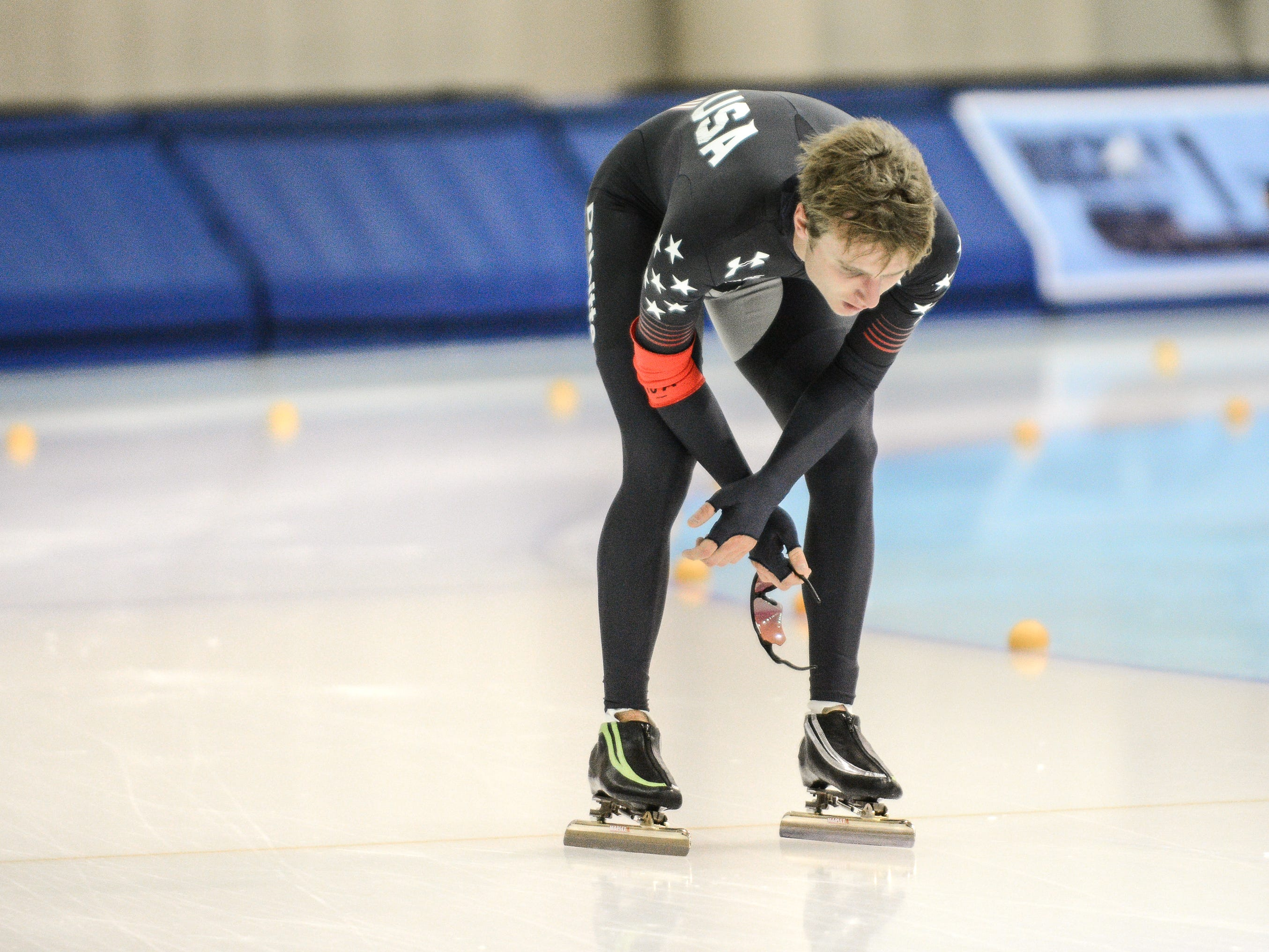 Men's 10,000 meters winner Ian Quinn catches his breath after his race at the U.S. World Cup qualifying event Sunday, November 4, 2018, at the Pettit National Ice Center.