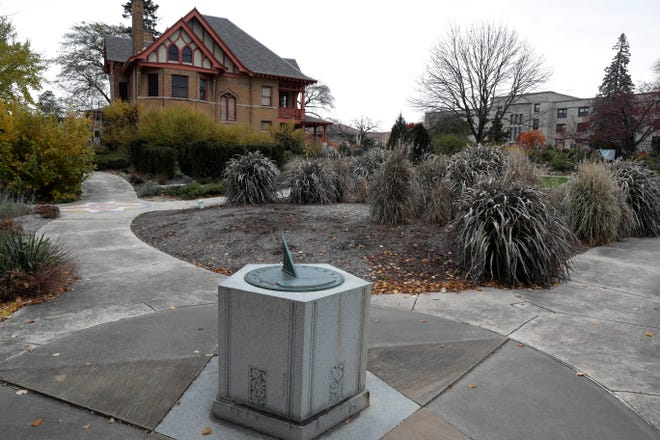 The Gold Star Mothers memorial in the Allen Centennial Garden in Madison is a decorative sundial on a stone pedestal that was dedicated on Nov. 11, 1935, exactly 17 years after World War I ended.