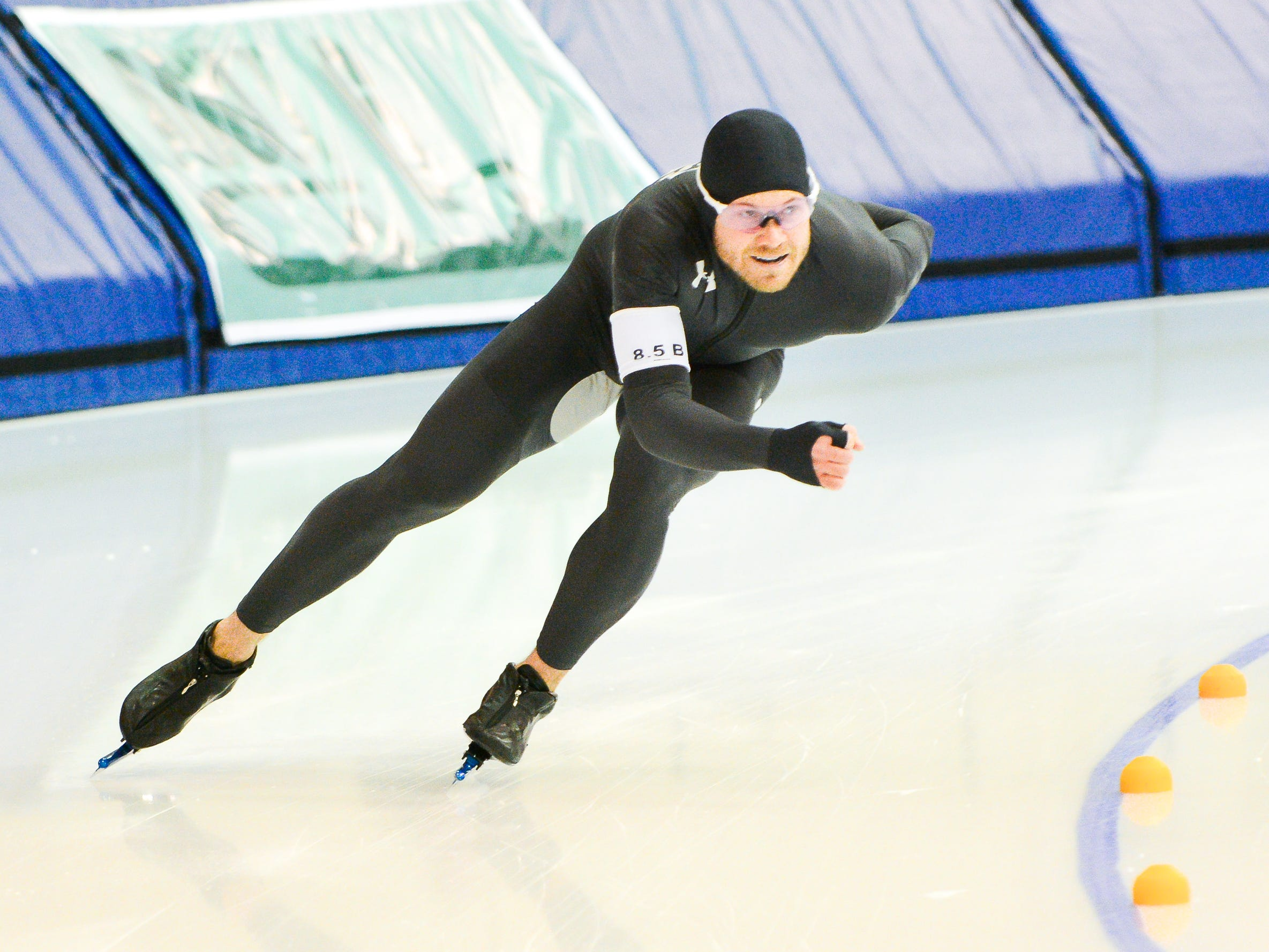 Joey Mantia races in the men's 1,500 meters at the U.S. World Cup qualifying event Sunday, November 4, 2018, at the Pettit National Ice Center. Mantia won the event.
