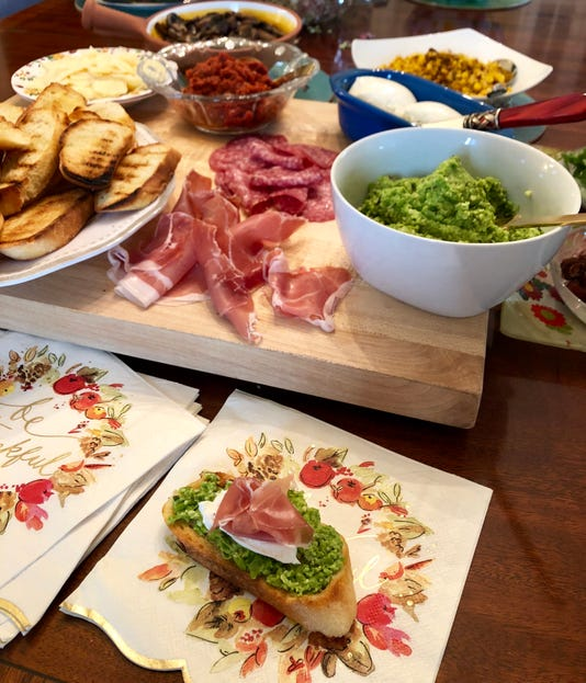 gather18-Spring Pea Pesto Burrata And Prosciutto Bruschetta With Bruschetta Bar