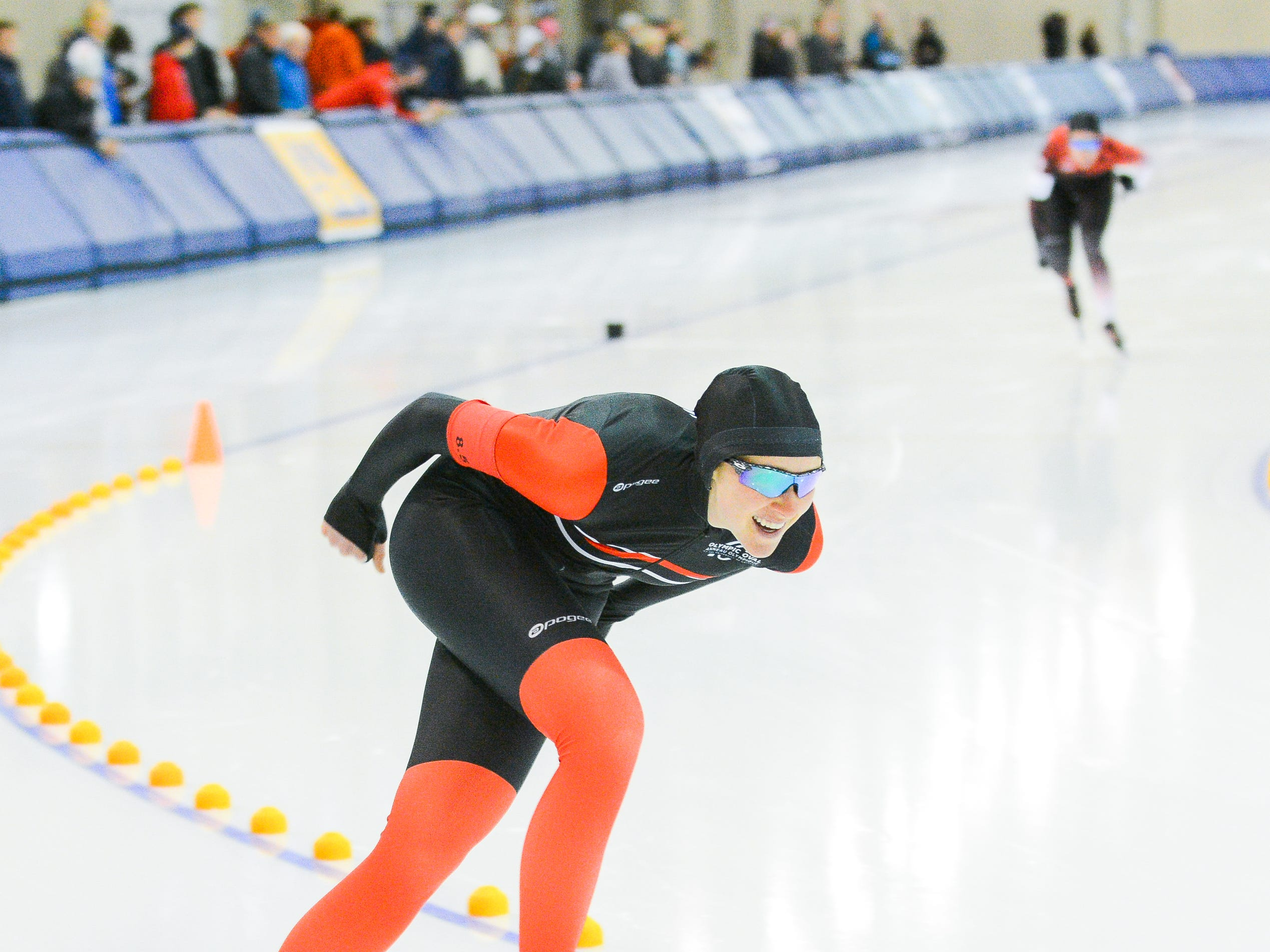 Taylor White leads Olivia Scott in the women's 1,500 meters at the U.S. World Cup qualifying event Sunday, November 4, 2018, at the Pettit National Ice Center. 1,500 meters at the U.S. World Cup qualifying event Sunday, November 4, 2018, at the Pettit National Ice Center. White finished ninth