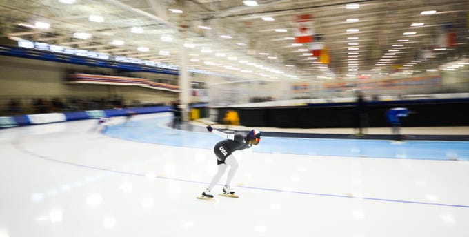 Erin Jackson competes in the women's 1,500 meters at the U.S. World Cup qualifying event Sunday, November 4, 2018, at the Pettit National Ice Center.' She was seventh overall.
