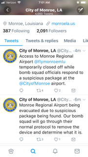 City of Monroe tweets airport evacuation