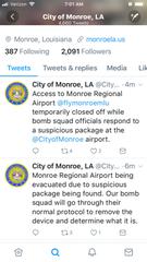 City of Monroe tweets airport evacuation