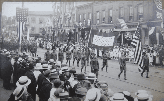 Returning doughboys and other veterans march on Veterans Day, Nov. 11, 1919 in Dover.