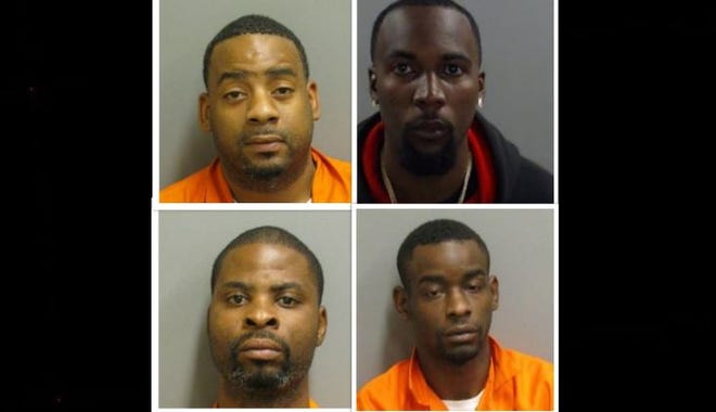 From top to bottom, left to right: Charles Hall, Martell Peoples, Maurice Greene and Takartae White are all charged with drug trafficking.