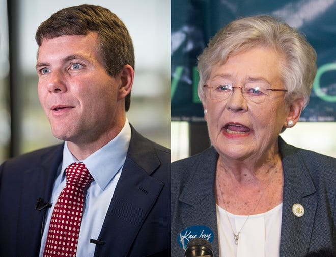 Democratic gubernatorial nominee Walt Maddox and Alabama Gov. Kay Ivey speaks before flying around the state on the final full day of their campaign at Montgomery Airport in Montgomery, Ala., on Monday, Nov. 5, 2018.