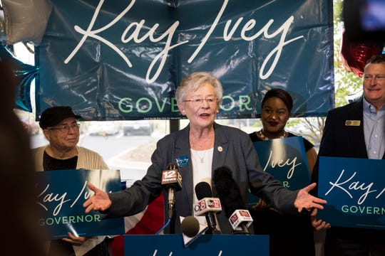 Alabama Gov. Kay Ivey speaks before flying around the state on the final full day of her campaign at Montgomery Airport in Montgomery, Ala., on Monday, Nov. 5, 2018.
