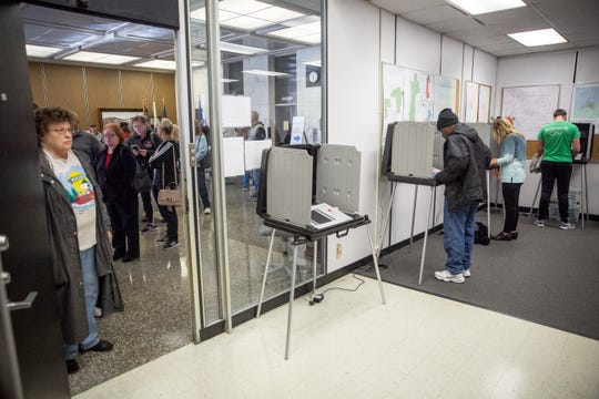 Early voters in Delaware County waited up to an hour to cast their ballots Monday morning at the government center. County Clerk Mike King said he believed more than 9,000 had voted early since Oct. 10.