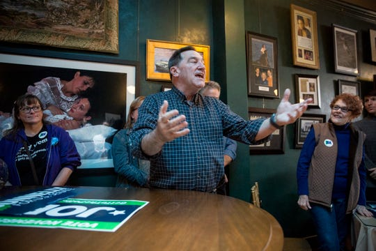 Joe Donnelly along with other democratic candidates rally at Vera Mae's Bistro Monday afternoon before the election Tuesday. Donnelly had several stops Monday including Muncie and Ft. Wayne.