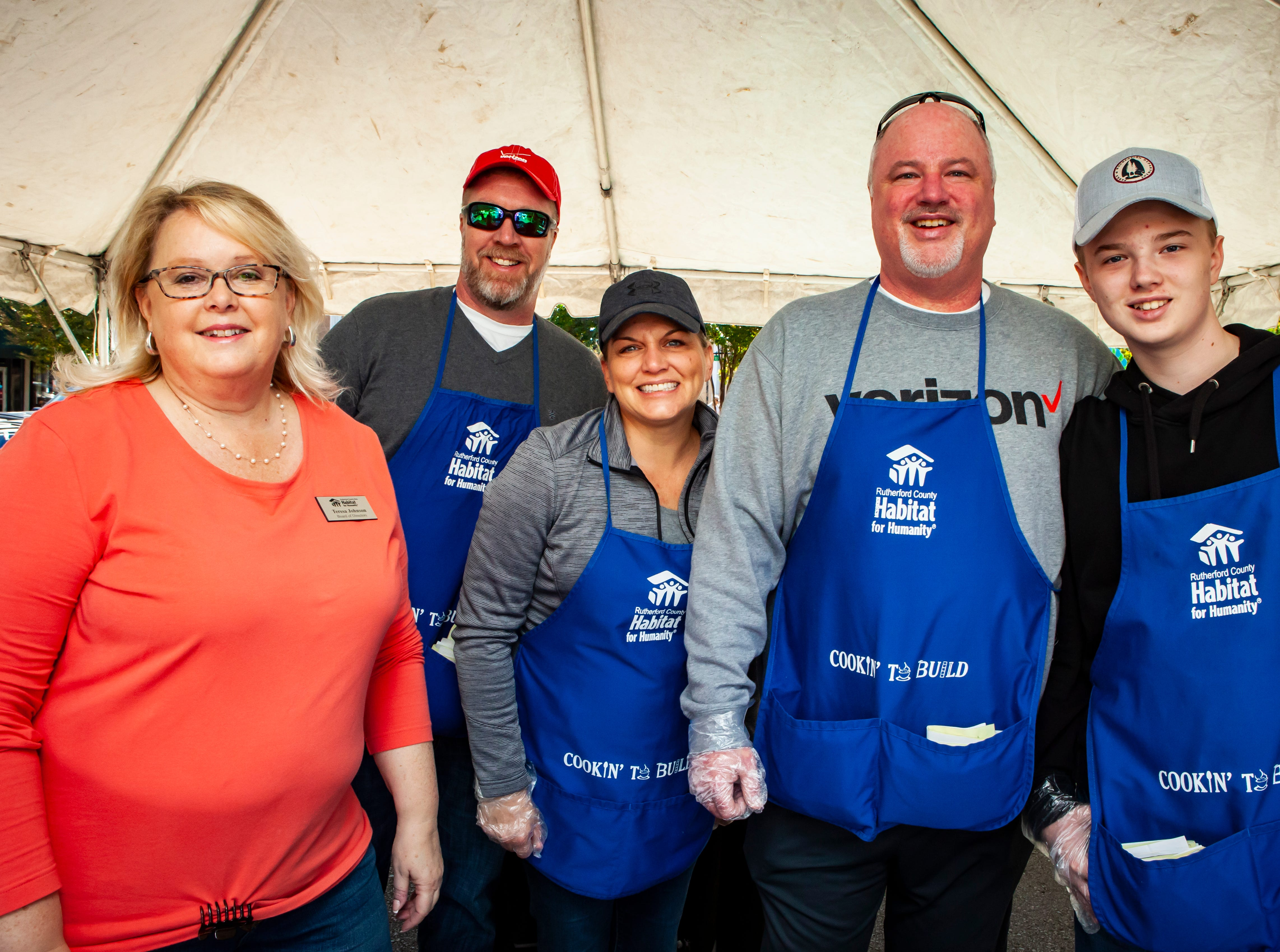Teresa Johnson, Mike Chaffins, Mindy Stover, Randy and Ross Nicholson at Rutherford County Habitat for Humanity's 2018 Cookin' to Build fundraiser on Saturday, Nov. 3, 2018.