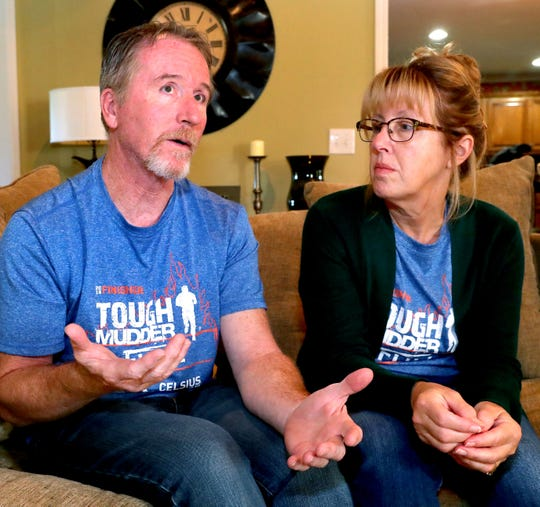Bruce Ippel, left, talks about his life after being diagnosed with MS and training and competing in Tough Mudder events. With him is his wife, Tina Ippel.
