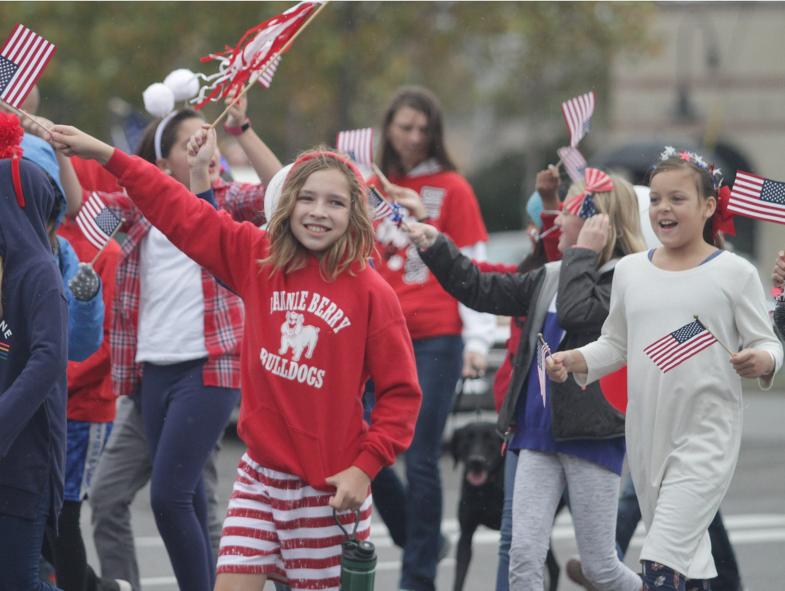 Students from the Nannie Berry Elementary School march in the Veterans Day Parade in Hendersonville, TN on Sunday, November 4, 2018.