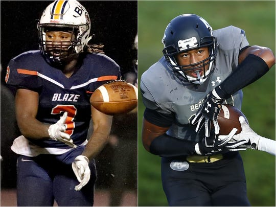 Blackman running back Ta'micus Napier (left) and Mt. Juliet defensive end Reggie Grimes (right)