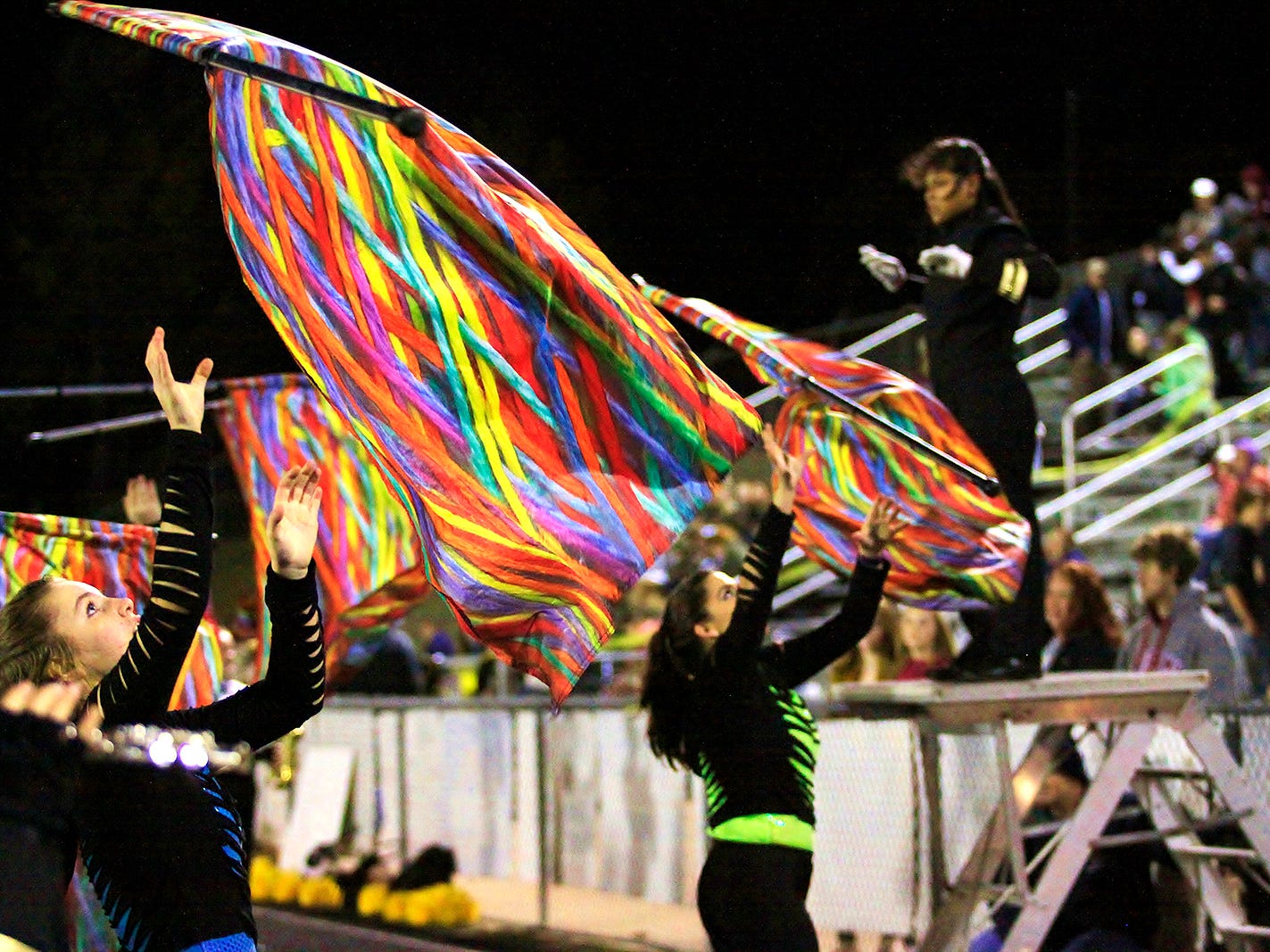 Fairview community raising funds for new band instruments to assist the Fairview High Sound 'O Gold Marching Band. Flag Corp performs November 2, 2018.