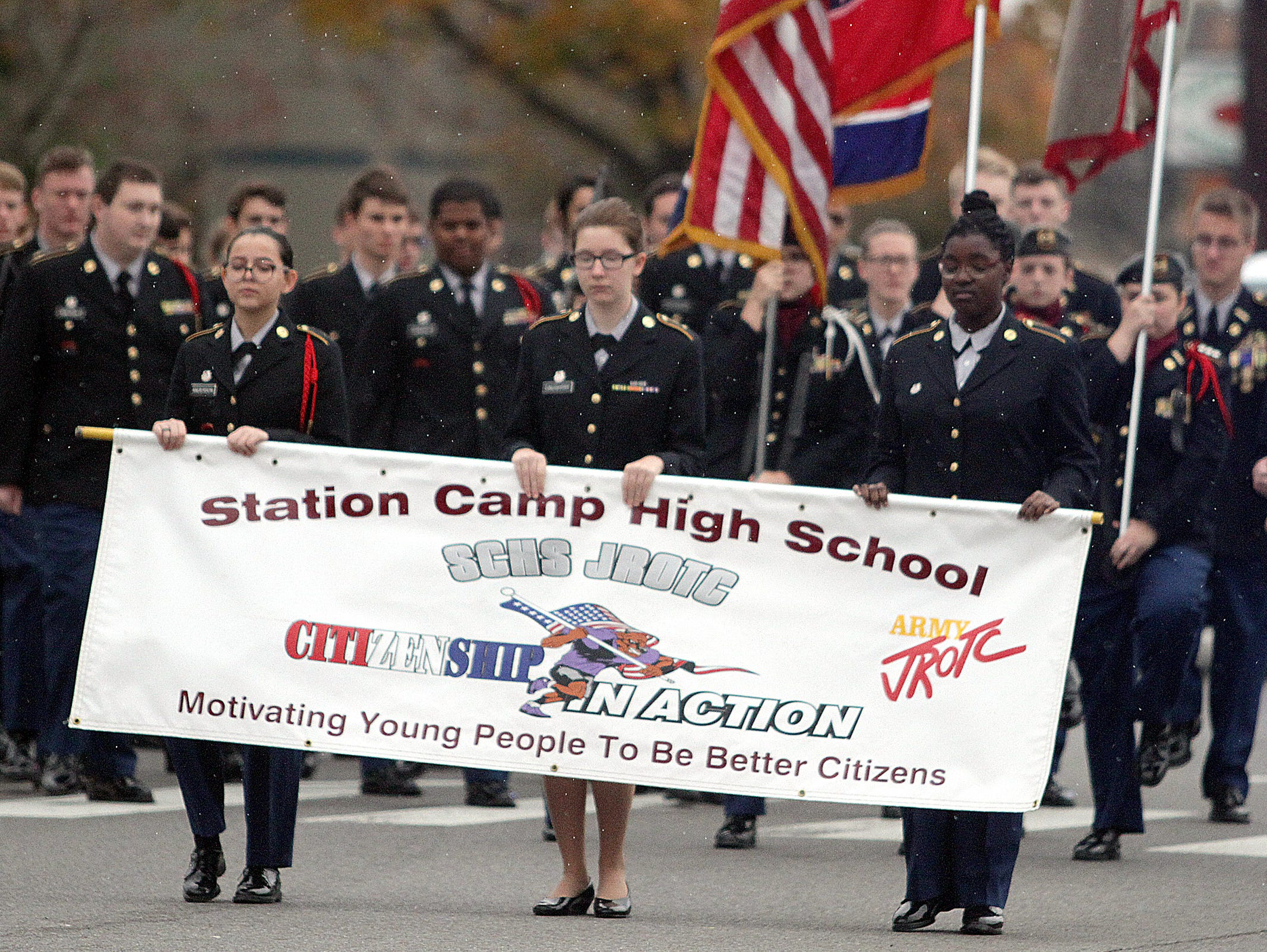 The Station Camp High School Band marches in the Veterans Day Parade in Hendersonville, TN on Sunday, November 4, 2018.
