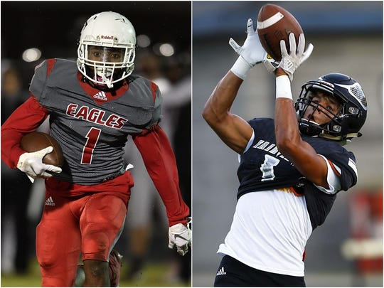 East Nashville running back Rondarius Gregory (left) and Fairivew wide receiver Kam Harris-Lusk (right)