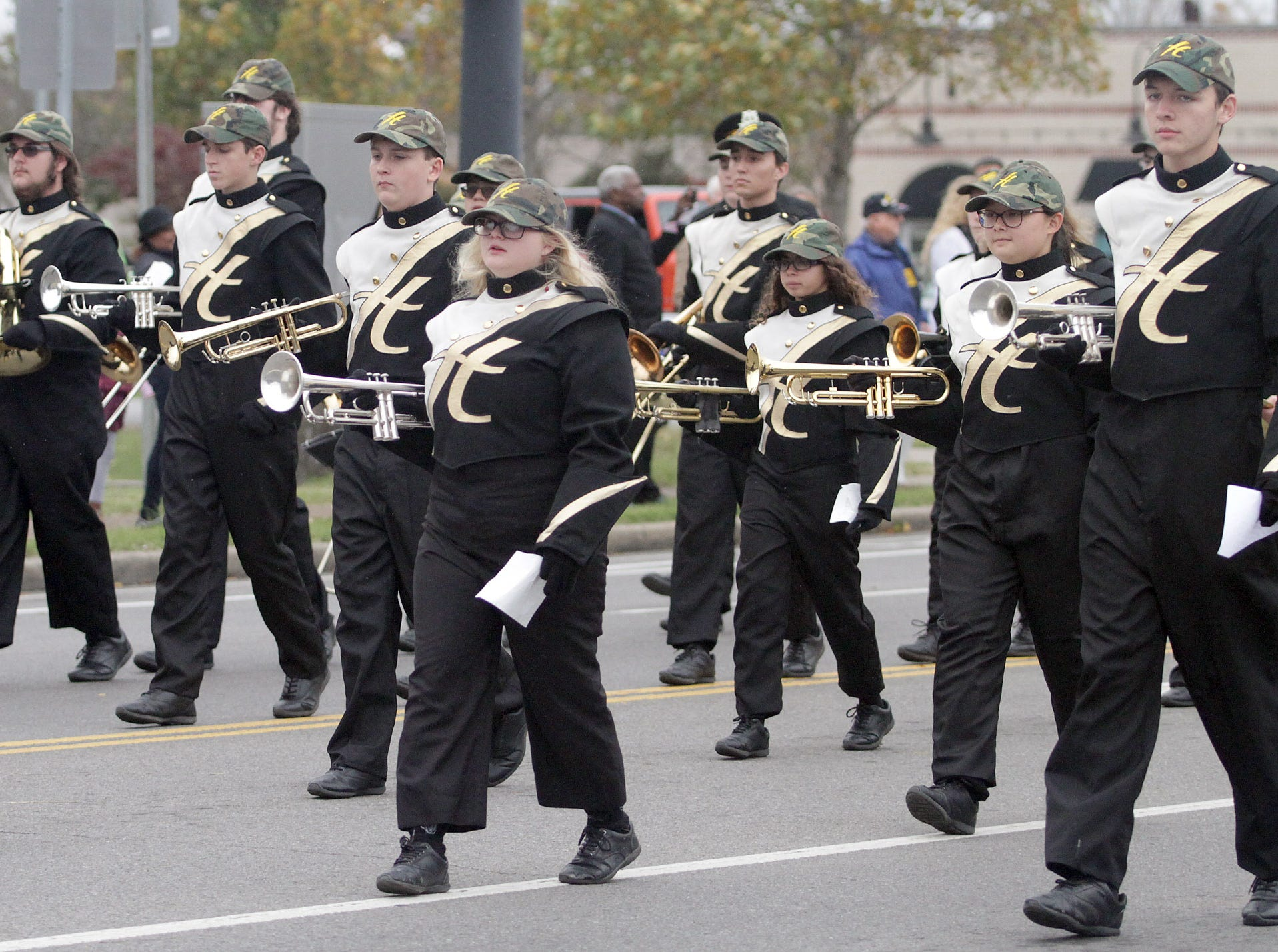 The Hendersonville High School Band marches in the Veterans Day Parade on Sunday, November 4, 2018.