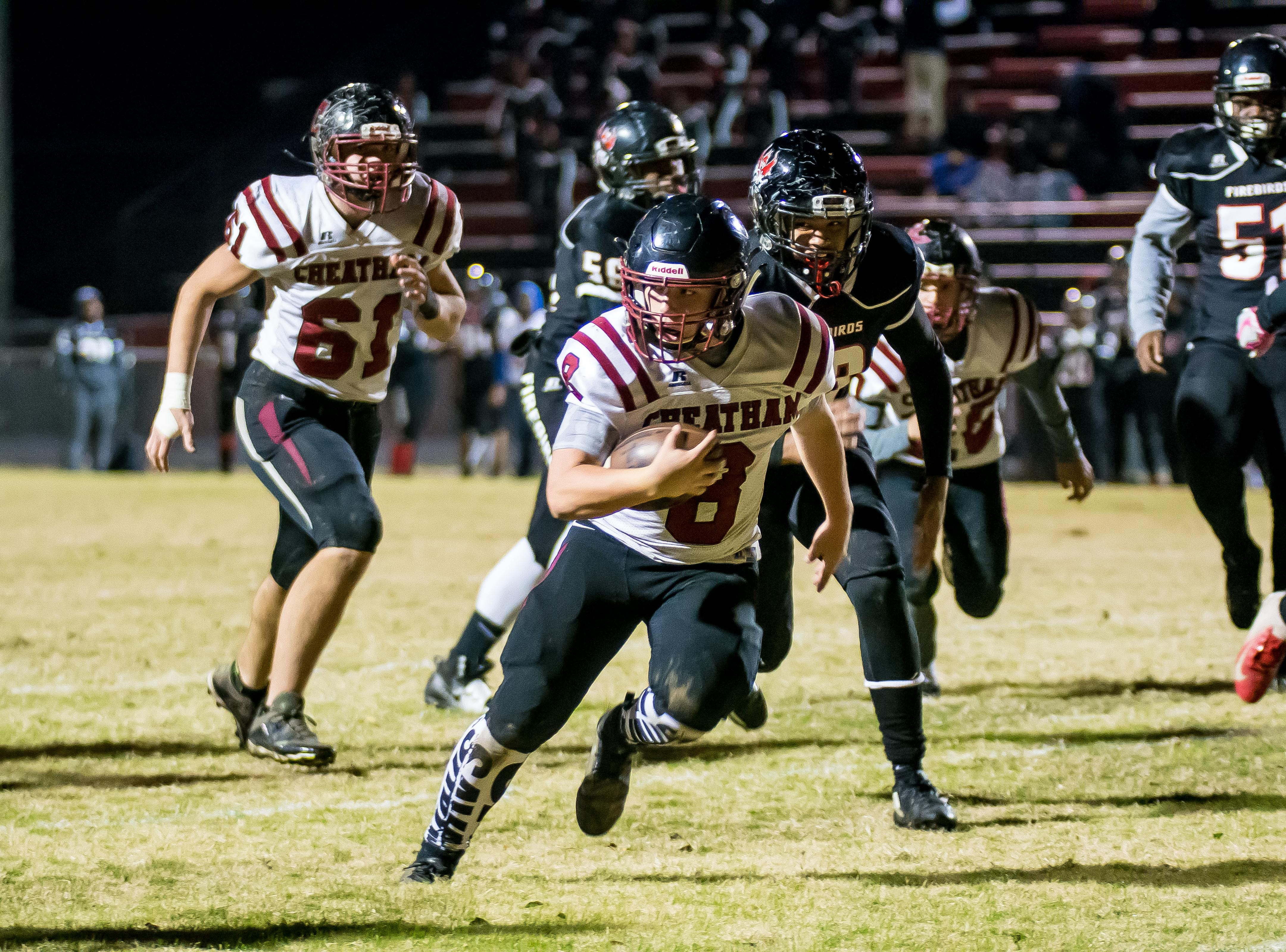 Cheatham County quarterback quarterback Bryson Entrikin scores a touchdown.