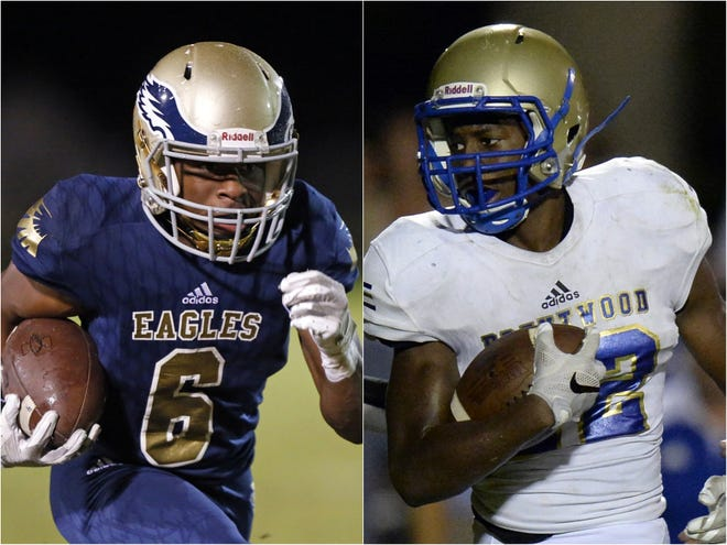 Independence wide receiver Isaiah Collier (left) and Brentwood linebacker Xiere Howard (right)