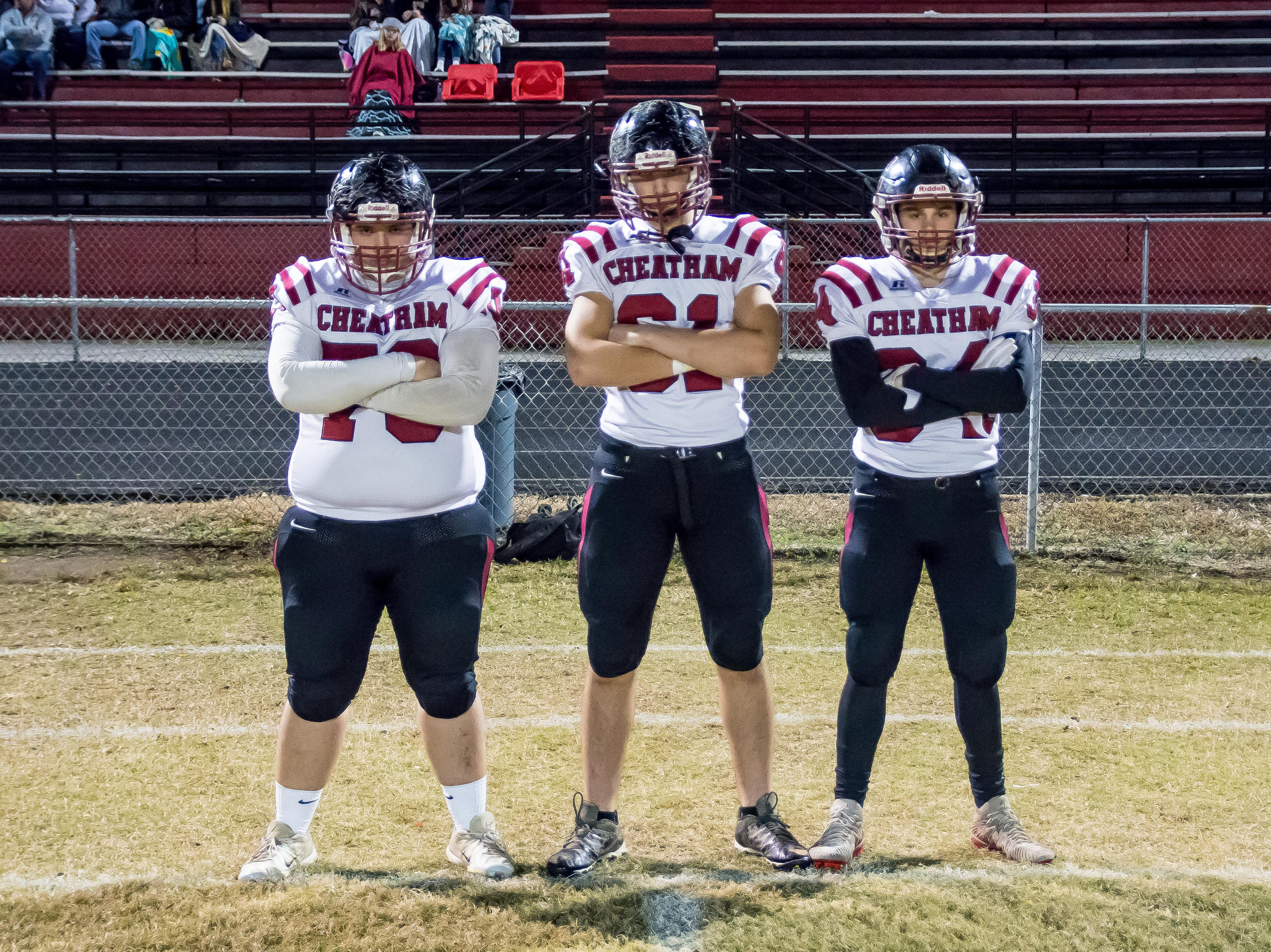 Cheatham County Cubs team captains, from left, were Jeffery Taylor,  Jameson Singleton and Walker Bunce.