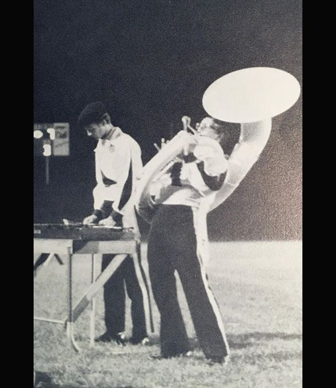 This photo captured in the fall of 1985 showsTravis Taylor playing a solo with a sousaphone which is still being used by Fairview High School band members today.