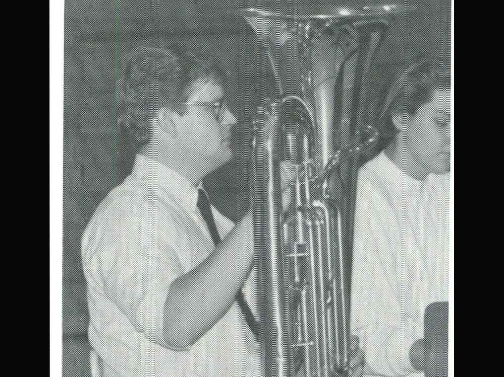 This photo from December 1985 showsTravis Taylor with an instrument which is still being used by Fairview High School band members today.