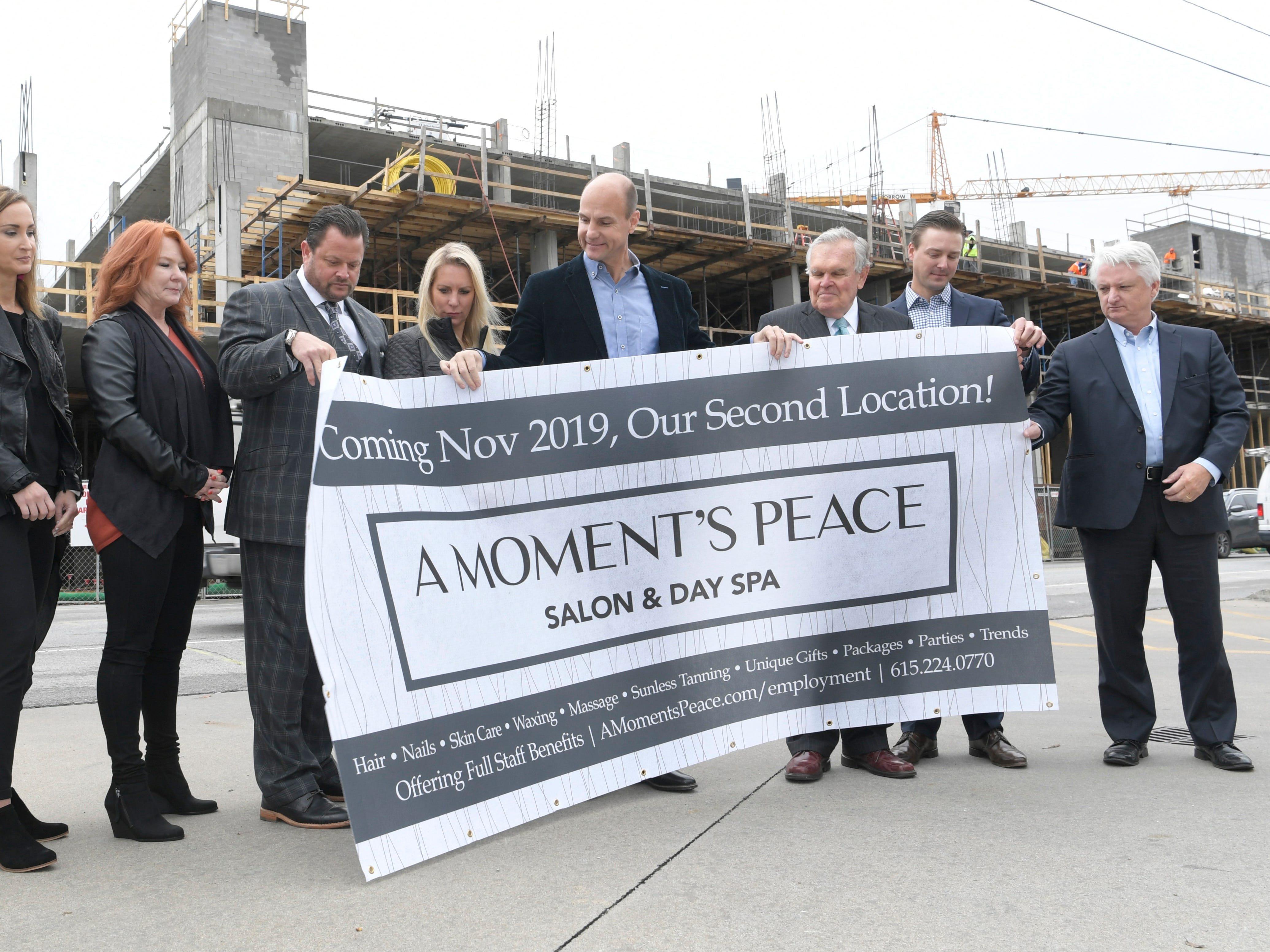 Harpeth Square and A Moment's Peace officials announce plans for the spa to open a new lacation at Harpeth Square on Monday, Nov. 5, 2018.