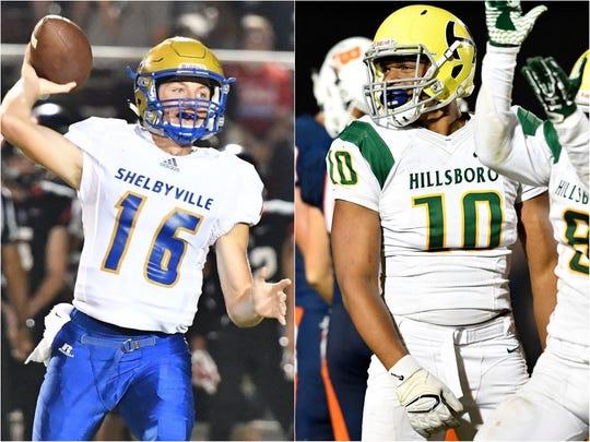 Shelbyville quarterback Grayson Tramel (left) and Hillsboro defensive end Joseph Honeysucker (right)