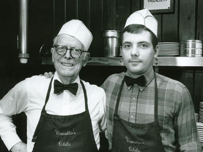 Frank Varallo Jr. and his grandson Todd Varallo in the 9th and Church Street restaurant location. Frank Jr. trained his grandson until Todd Varallo opened the second restaurant at 4th Ave. North which is still open today.