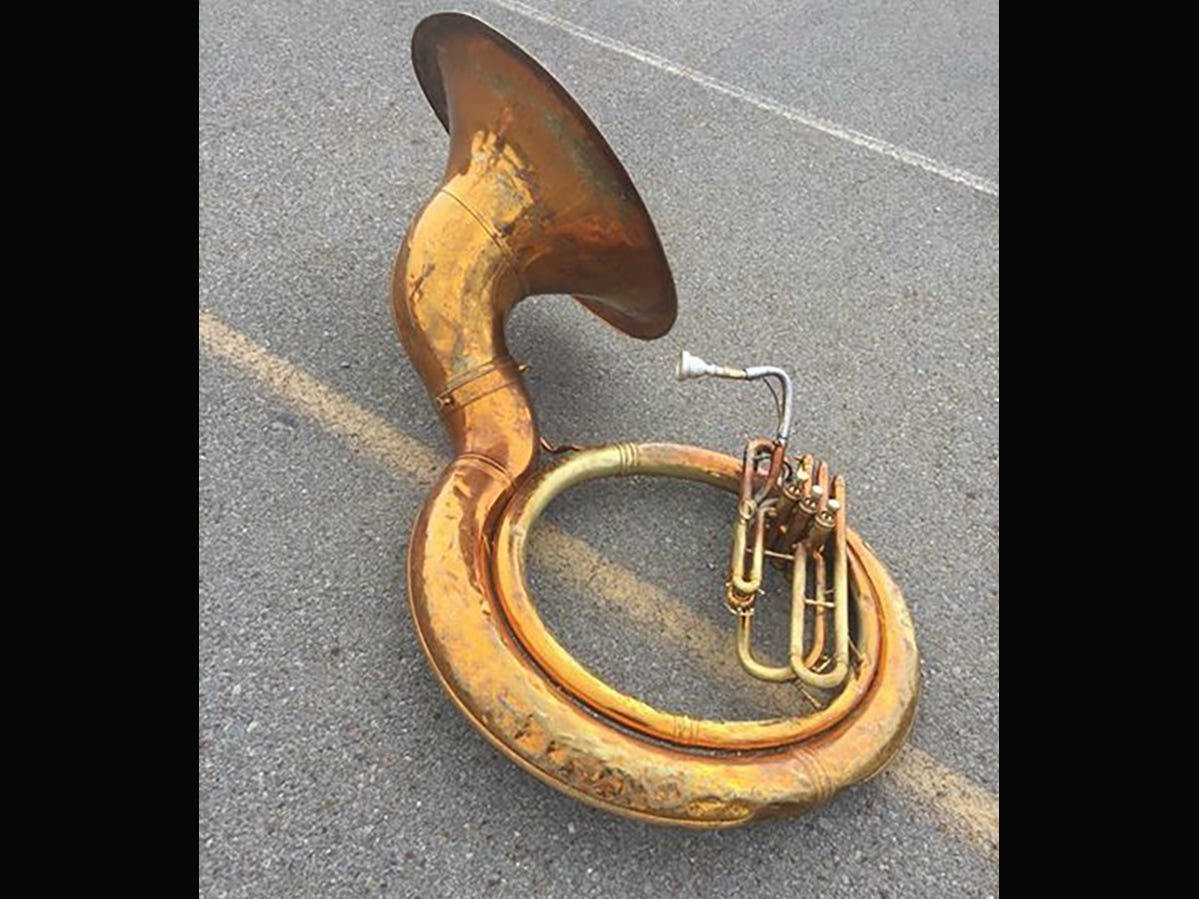 A photo of the current 30-year-old sousaphone tuba used by the Fairview High School band.