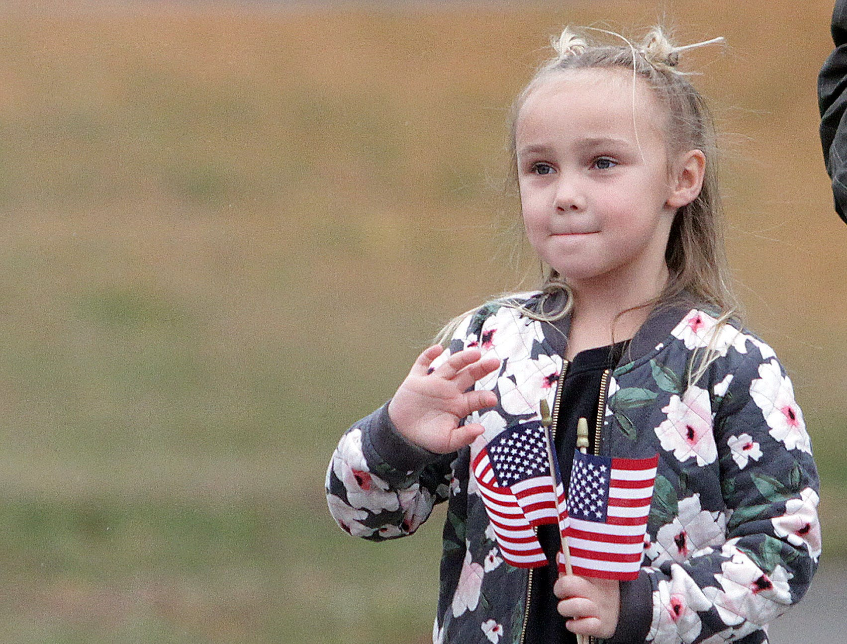 Audrina Hamer (6 1/2 ) waves to the Veterans in the Parade in Hendersonville, TN on Sunday, November 4, 2018.