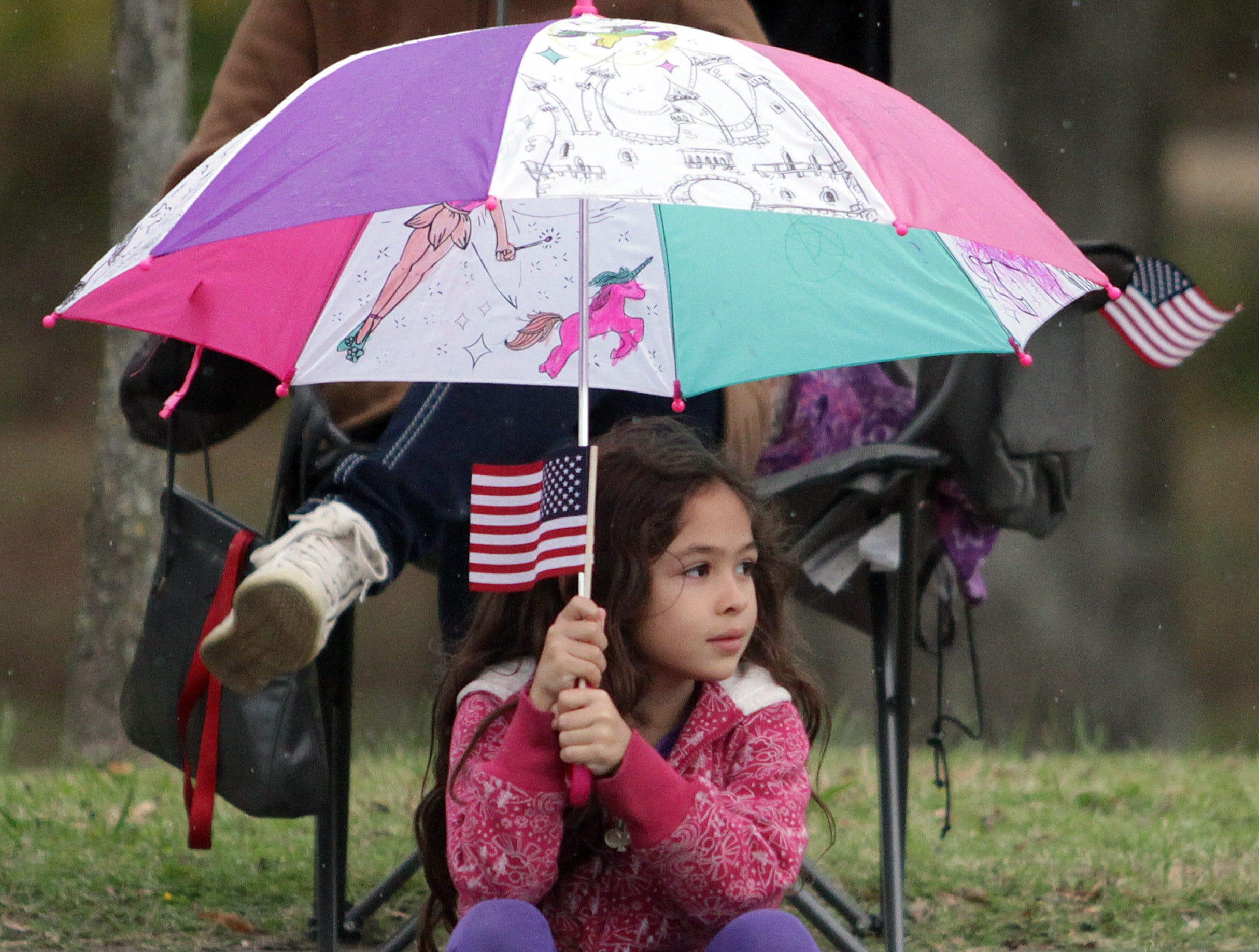 Alexandria Alba (7) watches the Veterans Day Parade in Hendersonville, TN on Sunday, November 4, 2018.