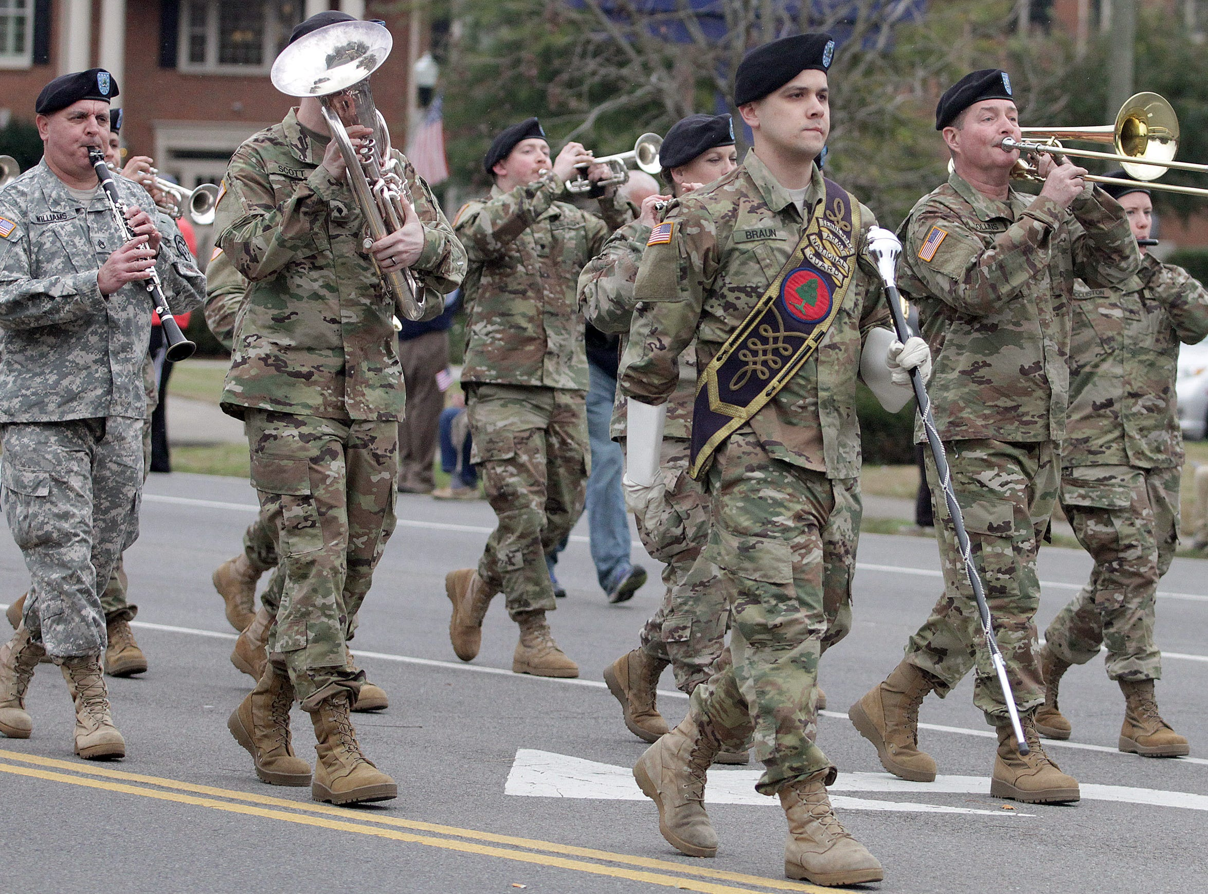 Members of Tennessee National Guard play in the Veterans Day Parade in Hendersonville, TN on Sunday, November 4, 2018.