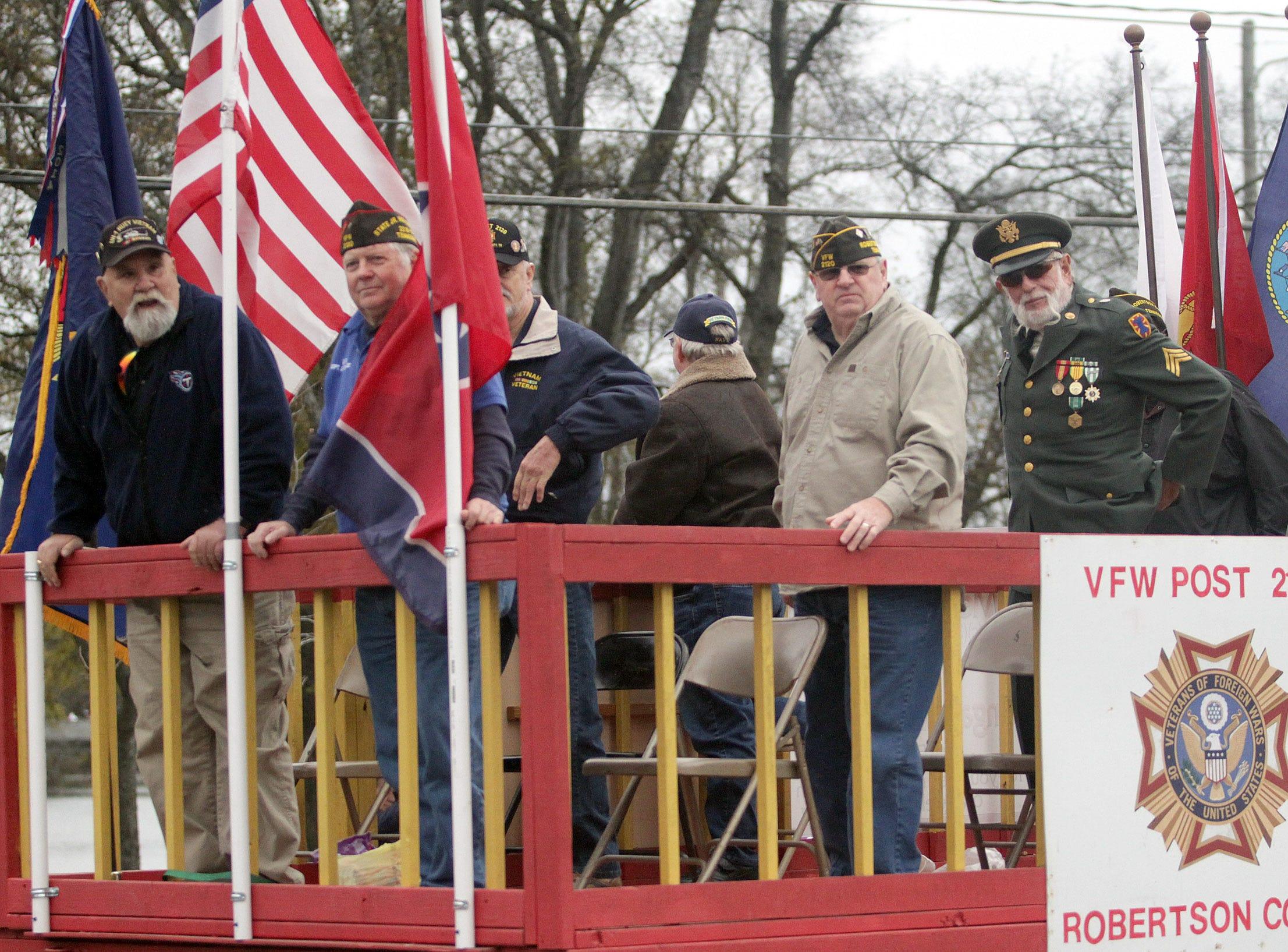 Veterans from Post 2120 ride in the Veterans Day Parade in Hendersonville, TN on Sunday, November 4, 2018.